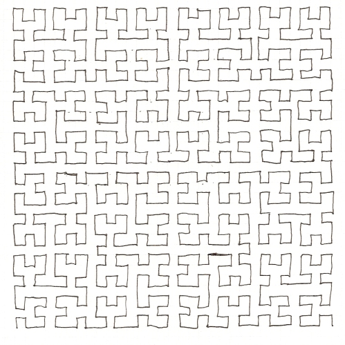 Hilbert Curve (Hand-Drawn)